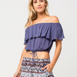 FULL TILT Ruffled Off The Shoulder Womens Top | Essentials