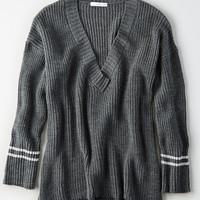 Don't Ask Why Stripe Sweater, Gunmetal