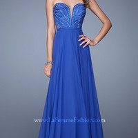 Strapless Beaded Gown by La Femme 21054