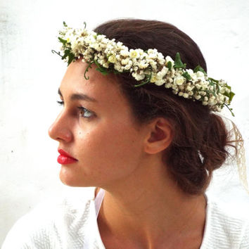 White flower crown, Wedding hair accessories, Real dried Floral headband, Ivory bridal headpiece, Dried baby's breath