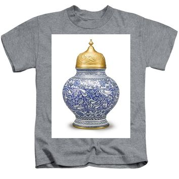 An Ottoman Iznik Style Floral Design Pottery Polychrome, By Adam Asar, No 9 - Kids T-Shirt