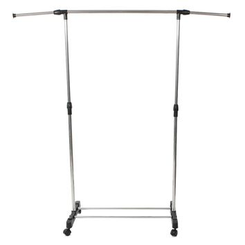 Single-bar Vertically-stretching Stand Clothes Rack with Shoe Shelf Silver