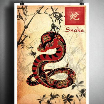 Chinese Zodiac snake asian wall decor, Sumi-e Asian wall decor, Japanese ink painting, Zodiac art print