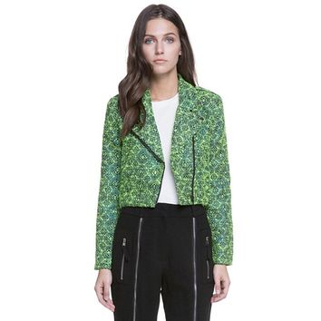 Abstract Green Double Zipper Moto Jacket