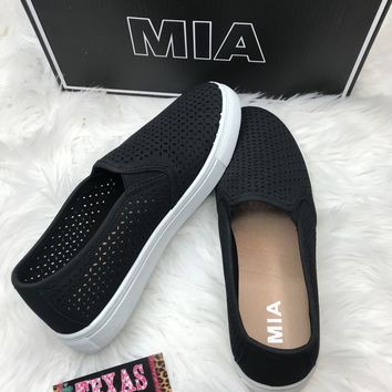 Black Mia Perforated Slip On Sneakers
