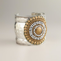 Gold and Silver Tribal Cuff Bracelet - World Market