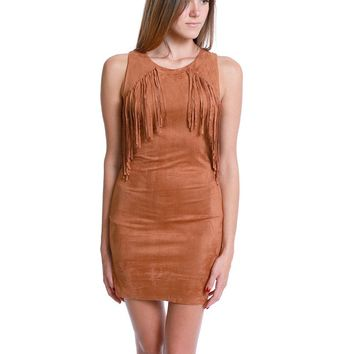 Swooning Over Fringe Dress - Brown