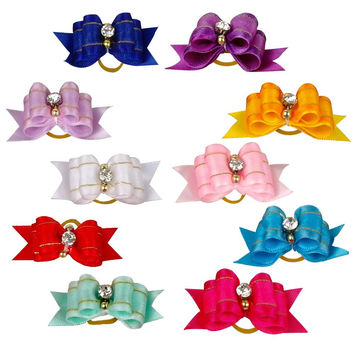 20pcs Mixed Colors Dog Hair Bows Pet Puppy Cat Bowknot Puppy Rubber Band For Small Papillon Maltese