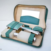 Vintage A Shipton Product  Two-Tix Made in England Emerald Color Cased Ladies Travelling Vanity Set