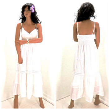 Boho beach maxi dress size S / M, white cotton bohemian long summer dress, long white sun dress, SunnyBohoVintage