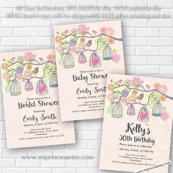 Best shabby chic baby shower invitations products on wanelo birdcages birthday invitation for any age baby shower bridal s filmwisefo