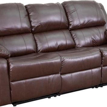 Harmony Series Brown Leather Sofa with Two Built-In Recliners [BT-70597-SOF-BN-GG]