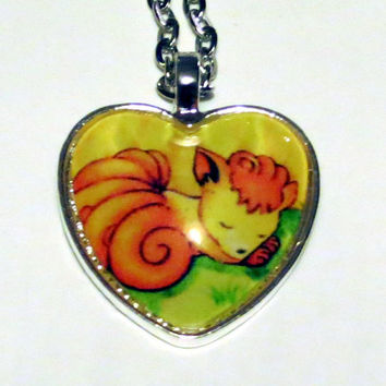Vulpix Pokemon necklace made from upcycled Pokemon cards - Second Variation in Silver