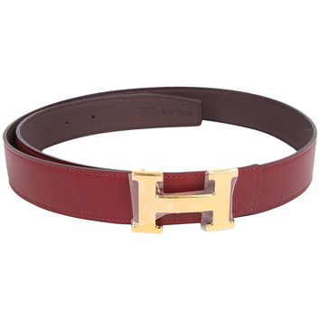 Hermes Reversible H Belt - brown / burgundy red leather