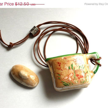 On Sale Vintage Lusterware Japanese Teapot, Hand painted Children's China Teapot with leather cord for pendant, Antique teapot made in Japan