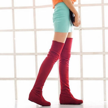 Winter Flat Heel PU Over The Knee women's Boots Shoes (Size: 6.5, Color: Brown) = 1946781124