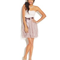 Teeze Me Juniors Dress, Strapless Colorblock Glitter Ruffled