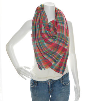 Colorful Tartan Plaid Blanket scarf / Oversized Scarf Blanket / Flannel Shawl / Fall, Winter Wrap / Long Flannel Scarf/ Zara Insired