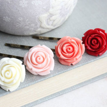 Vibrant Rose Bobby Pins Red Rose Coral Floral Hair Accessories Pink Flower Bobbies Ivory Rose Hair Pins Flowers for Hair Colorful Ombre