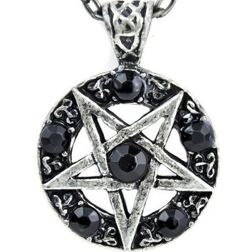 ac spbest Inverted Pentagram Ritual Necklace with Black Stones