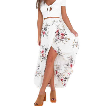 Asymmetrical High Waist Floral Print Maxi Skirt