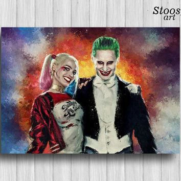 joker and harley quinn poster dc comics art joker gift harley quinn art