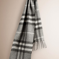 Check Cashmere Scarf Pale grey