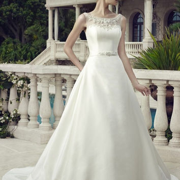 Casablanca Bridal 2154 Illusion Neckline Satin A-Line Wedding Dress