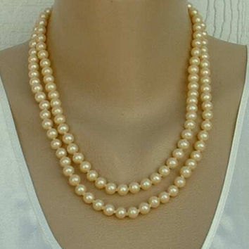 JAPAN 2 Strand Glass Pearl Necklace Hand Knot Fancy Clasp Vintage