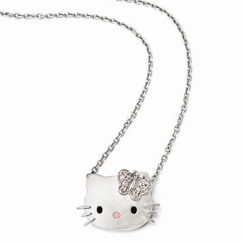 Sterling Silver Hello Kitty Pink Swarovski Elements Butterfly Necklace