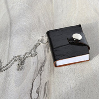 Notebook leather necklace  sharm keychain Black journal book Charm leather Journal miniature Book keychain Mini leather book Art bookbinding