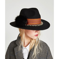 EMBELLISHED FELT HAT
