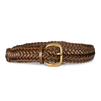 Gucci Women's Braided Leather Gold Buckle Belt 380606 Brown (32-38 in/80-95 cm)
