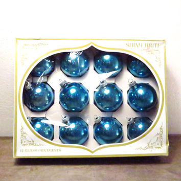 Vintage Blue Christmas Balls / Blue Shiny Brites / Glass Xmas Ornaments / Retro Blue Ornaments / Vintage Christmas Balls / Boho Christmas