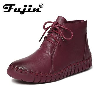 2017 Fujin Vintage Style Genuine Leather Women Boots Flat Booties Soft Cow hide Women's Shoes Front Ankle Boots zapatos mujer