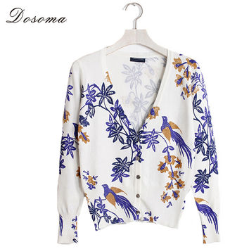 16 Styles 2016 Spring/Autumn Fashion  Full Sleeve Women Cardigan Casual V-neck Printed Knitted Cardigan Women Cardigan Blazers