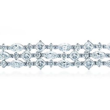 Tiffany & Co. -  Fringe bracelet of cushion-cut, marquise and round diamonds in platinum.