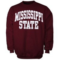 Mississippi State Bulldogs Bold Arch Crew Sweatshirt - Maroon