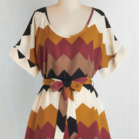 Long Short Sleeves Medium Format Memory Tunic in Autumnal Chevron