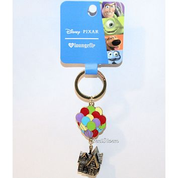 "Licensed cool Loungefly Disney Pixar UP Carl's house balloons Keychain Key Ring Chain 3"" Long"