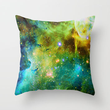 blue green space nebula Throw Pillow by Haroulita   Society6