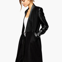 Black Long Sleeve Leather Accent Wrapped Long Coat