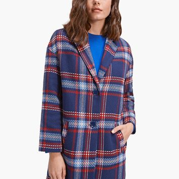 Checked coat with drop sleeves - All | Stradivarius United Kingdom