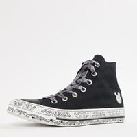 Converse X Miley Cyrus Chuck Taylor All Star Hi Sneakers In Black And White Bandana at asos.com