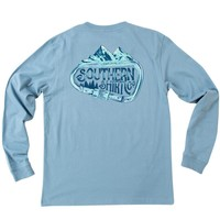 Carabiner Long Sleeve Tee Shirt in Provincial Blue by The Southern Shirt Co. - FINAL SALE