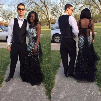 Backless Black Girl Prom Dress Mermaid Rhinestone Beading Crystals African Teen Evening Party Gowns Abendkleider 2017 Lange