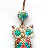 Blue Rhinestone Owl Dangle Ball Barbell Bar Belly Button Navel Ring Body Piercing