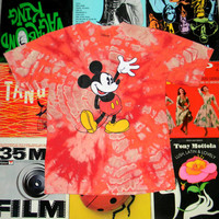 Handmade Tie Dyed Red Mickey Mouse T-Shirt. Discharge Dyeing. Tie Dye. Reds and Pinks. One of a Kind. OOAK. Walt Disney World Souvenir. M