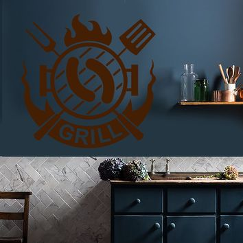 Vinyl Wall Decal Grill Bar Grillroom Barbecue Logotype Kitchen Decor Stickers (2735ig)