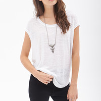 LOVE 21 Boxy Heathered Linen Top